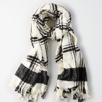 AE Buffalo Boucle Plaid Scarf, Cream
