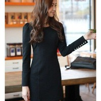 Black Women Long Sleeve Autumn Spring New Style Flannel Dress M/L @WH0410b $30.62 only in eFexcity.com.