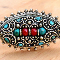 Tibetan Nepali Ring Turquoise Coral Ethnic Nepalese Bohemian Gypsy Boho Jewelry