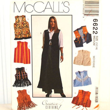 McCall's 6622 (c. 1993) Creative Clothing Size 12, 14, 10 Different Vest Styles, Boho, Country Western, Long, Waist Length, Fringed Vests