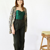 1980s Bustier Top / Jacket / Emerald Green / Size M