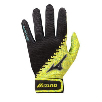 Mizuno Swift Softball Batting Gloves, Blue/Yellow, Large