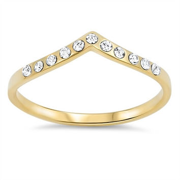 925 Sterling Silver CZ Yellow Gold-Tone Plated Stackable Tiara Ring 4MM