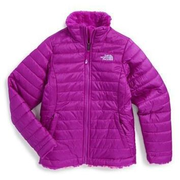The North Face Girl's 'Mossbud Swirl' Reversible Water Resistant Jacket,