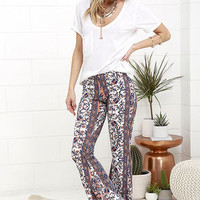 Floral Festival Peach and Navy Blue Floral Print Flare Pants