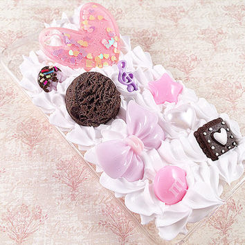 Clear iPhone 5/5S Case - Decoden Hard Phone Case - Kawaii Sweets Deco - Pink Heart, Candy, Purple - Whipped Cream - Snap On Case