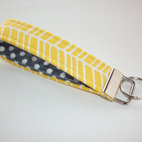 Key FOB / KeyChain / Wristlet key strap  - yellow herring bone with white polka dots on gray - gift for her under 10