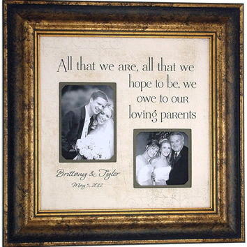 Father of the Bride Picture Frame Gift, All That We Are, Daddy, Dad, Parent Gift, Wedding Thank you, Mother of the Bride ( 16 X 16 )