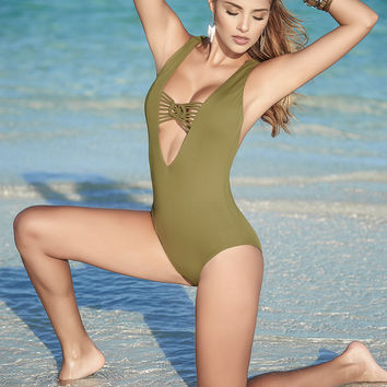 Plunging One Piece Swimsuit-Resort Wear