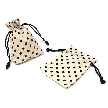 Printed Cotton Favor Pouch Bags, 3-1/2-Inch x 5-Inch, 12-Count, Black Dots