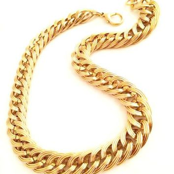 Golden Curb Chain Short Necklace Vintage Jewelry