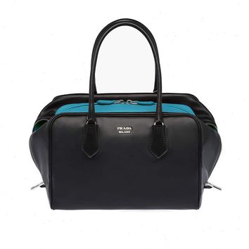 Prada Inside Bag Women's Black and Turquoise Bauletto Handbag Satchel 1BB009