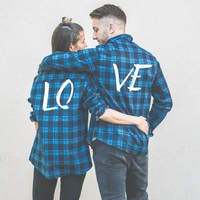 LOVE Plaid Shirts, Matching Plaid Shirts, UNISEX
