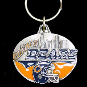 Chicago Bears Oval Carved Metal Key Chain