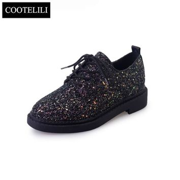 COOTELILI 35-39 Spring Casual Solid Flats Women Shoes Low Heels Glitter Girls Oxfords Round Toe Lace-Up Leisure Ladies Shoes