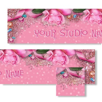 Pink Rose Jeweled Banner and Avatar Set - Gems - Glitter - Ribbon - Flowers -Sparkle - Beautiful -