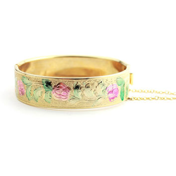 Victorian Revival Embossed Flower Bangle Clasp Bracelet