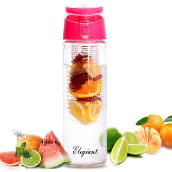 ELEGIANT 800ml Sport Water Bottle Fruit Infuser Juice Bottles with Carry Handle and Flip Top Lid for Outdoor Sports Office School Travel Yoga (BPA Free)