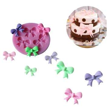Fondant Bowknot Mold Chocolate Candy Cookie Jello Silicone Mold DIY Bakeware Tool Polymer Clay Crafts Baking Series Random Color