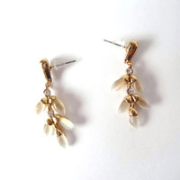 White Leaves Stones, Wedding Jewelry, Golden Metal, Glass Stone, Gold Tone Metal