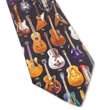 Guitars Classic 1910 to 1996 History of Music Men Silk Tie 3.8W