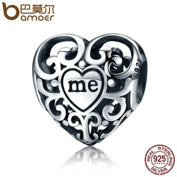 Romantic Real 925 Sterling Silver Openwork You & Me Flower Leaf Beads fit Charm Bracelet & Bangle DIY Jewelry Gift SCC145