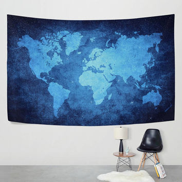 Watercolor Blue World Map Tapestry Wall Hanging Navy Blue Map Wall Decor Art for Bedroom Living Room and Dorm