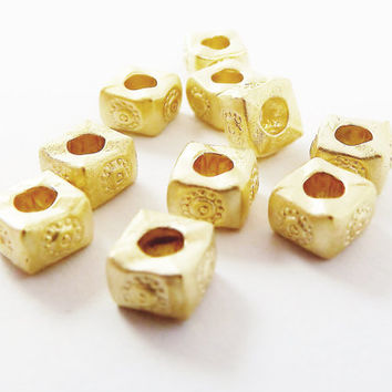 10 Chunky Square Flower Stamped Beads - 22k Matte Gold Plated Brass