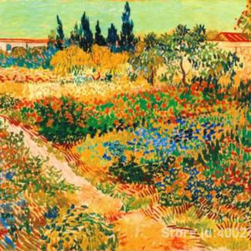 BLUHENDER GARTEN MIT PFAD by Vincent Van Gogh Landscape Oil painting reproduction home decor Hand painted High quality