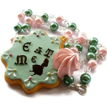 Eat Me Necklace Rare Alice In Wonderland by KitschBitchJewellery