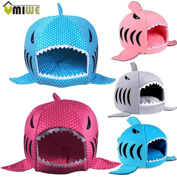 Warm Shark Shaped Pet Bed Luxury House With Mat Dog Sofa Sleeping Bed Cats perro Dog Kennel Goods For Small Dogs Pets Animals
