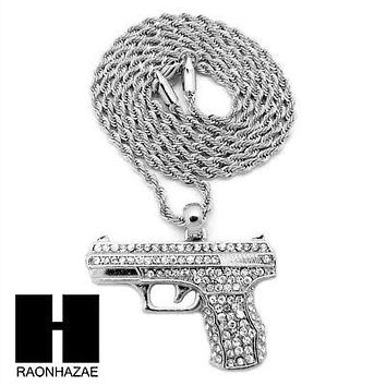 "MEN'S ICED OUT WHITE GOLD PLATED GUN PENDANT W 3mm 24"" ROPE CHAIN NECKLACE D32S"