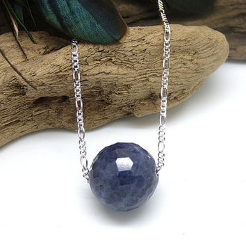 Raw Sapphire Necklace, Genuine Blue Sapphire Necklace, Natural Stone, Sterling Silver Precious Gemstone Jewelry