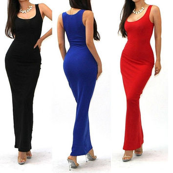 Summer Fashion Scoop Neck Womens Maxi Long Cocktail Evening Party Sundress = 1946910660