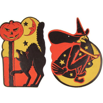 Moonstruck - 2 Luhrs Die Cut Paper Halloween Decorations, Black Cat with Arched Back & Witch on Broom, Crescent Moon, Vintage 1950s