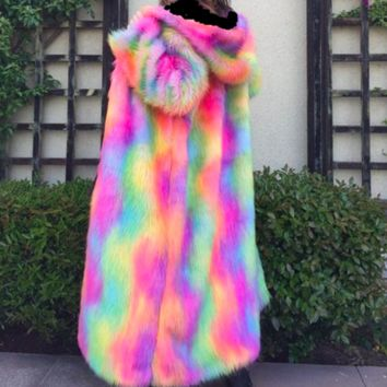 Psychedelic Mess Full Length Faux Fur Coat in Bright Rainbow