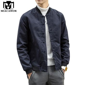 Plus Size 5XL Men Bomber Jacket Fashion Retro buttons Men Coats Veste Homme Solid Casual Jaqueta Masculina Men Clothing MJ345