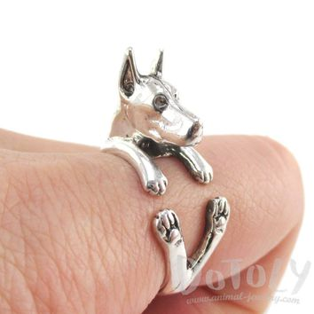 3D Doberman Pinscher Dog Shaped Animal Wrap Ring in 925 Sterling Silver | Sizes 5 to 8.5