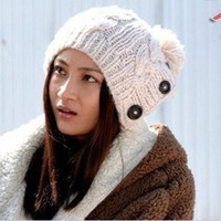 Winter Cap Women Warm Woolen Knitted Fashion Hat Ear Protection