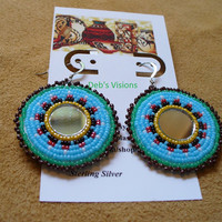 Native American Style Seven Directions mirrored rosette style earrings