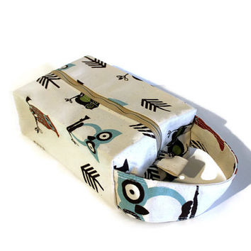 Owl boxy bag, boxy pouch, makeup bag, travel tote, toiletry bag, hang over door bag, nail polish case, craft storage pouch, pencil case.
