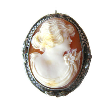 Carnelian Shell Art Nouveau Cameo Brooch and Pendant / 1800s Brooch / Shell Cameo / Vintage Fashion / Vintage Jewelry / Womans Gift Jewelry