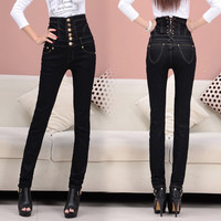 TDV S - 6XL Promotion 2016 New European Style Skinny Show Thin High Waist Pencil Pants Women Black Sexy Denim Jeans Trousers