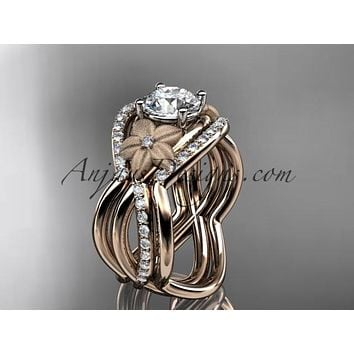 """14kt rose gold diamond leaf and vine wedding ring, engagement ring with """"Forever One"""" Moissanite center stone and double matching band ADLR90S"""