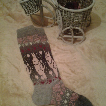 """20% diskount coupon code These incredibly beautiful socks knitted from the finest wool """"Artistic"""". Wool is soft and fluffy"""