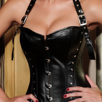 Black Rivet Halter steel buckle Gothic punk corset = 1929552772