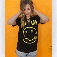 NIRVANA LACE UP BAND TEE-BLK