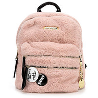 STEVE MADDEN MEDIUM FUR BACKPACK WITH PINS (BLUSH)