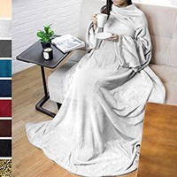 Premium Fleece Blanket with Sleeves by Pavilia | Warm, Cozy, Extra Soft, Functional, Lightweight (Light Gray, Regular Pocket)