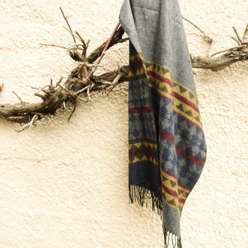 Oversized blanket scarf, navy blue blanket shawl, astec design long scarves tribal wrap scarf for women écharpe de couverture